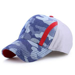Camouflage Single Stripe Splicing Baseball Cap - Grey White - One Size