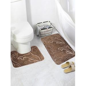 2Pcs Flannel Dolphin Print Bath Toilet Rug Set