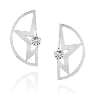 Hollowed Star Rhinestone Stud Earrings