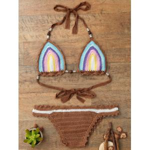 Trendy Halter  Knitted Colored Women's Bikini Set - COLORMIX ONE SIZE(FIT SIZE XS TO M)