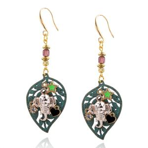 Rhinestone Elephant Leaf Star Heart Drop Earrings - Bronze