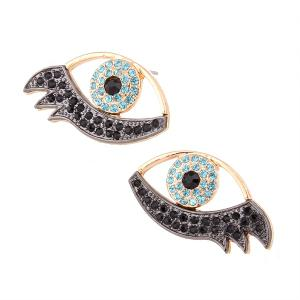 Rhinestone Alloy Devil Eye Earrings - Blue - 8