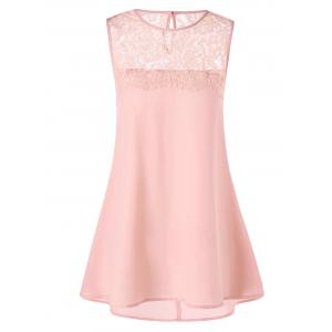 Lace Trim Longline Sleeveless Blouse