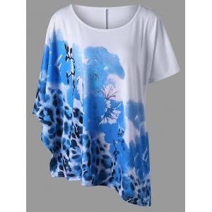Plus Size Floral with Leopard Casual T-Shirt