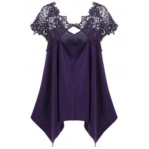 Plus Size Asymmetric Lace Panel T-Shirt - DEEP PURPLE 2XL