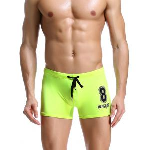 Number Print Drawstring Swimming Trunks