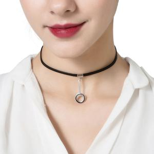 Circle Hollowed Pendant Choker Necklace