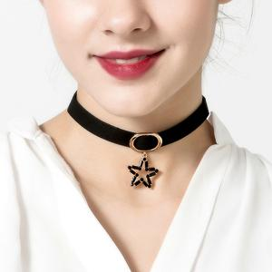 Rhinestone Hollowed Star Pendant Choker Necklace