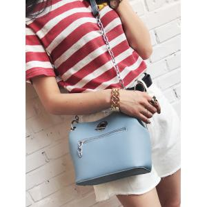 Chain Eyelet Front Zip Crossbody Bag -