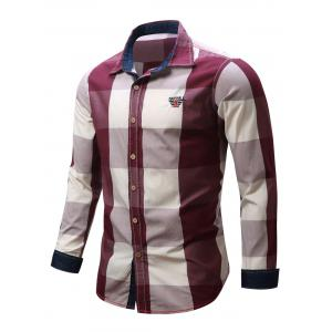 Turn-Down Collar Plaid Pattern Long Sleeve Shirt For Men - RED 2XL