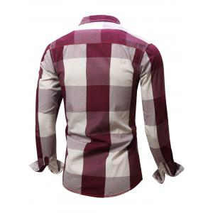Turn-Down Collar Plaid Pattern Long Sleeve Shirt For Men - RED L