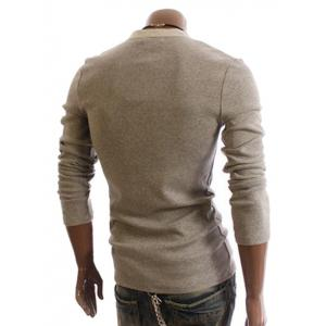 Men's Cotton T-Shirt With Korean Style Faux Twinset Solid Color Long Sleeves Design -