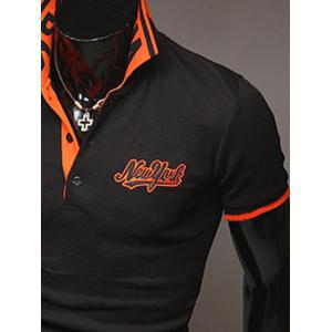 Fashion Style Polo Collar Embroidery Letters Embellished Short Sleeves Polyester Polo Shirt For Men - BLACK XL