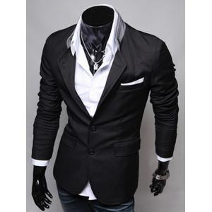 Spring New Style Pocket Applique Design Solid Color Blazer For Men -