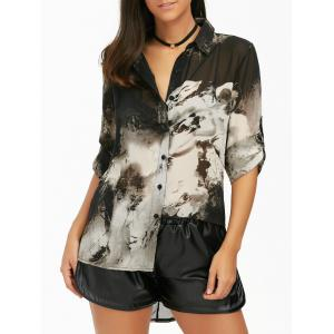 Button Up Ink Painting Chiffon Blouse