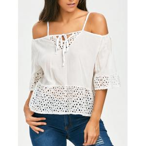 Bell Sleeve Spaghetti Strap Cold Shoulder Top