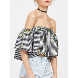 Off The Shoulder Embroidered Plaid Blouse - BLACK WHITE M
