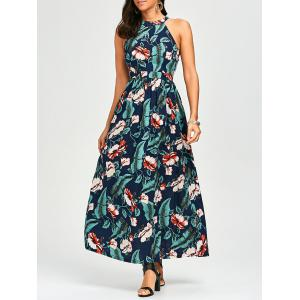 High Waist Long Cutout Hawaiian Tropical Maxi Dress