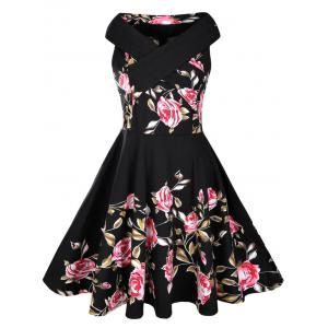 Floral Rose Print Sleeveless A Line 50s Dress - Black - 2xl