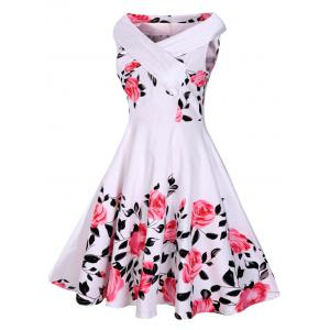 Floral Rose Print Sleeveless A Line 50s Dress - White - S