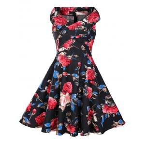 Floral Print Sleeveless 1950s Flare Dress - Black - S