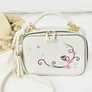 Embroidery Tassel Crossbody Handbag - White