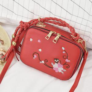 Embroidery Tassel Crossbody Handbag - Red