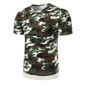 Hem Panel Crew Neck Camo Tee - Army Green Camouflage - L