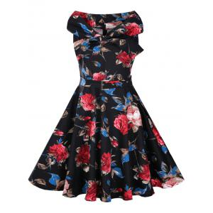 Floral Print High Waist Vintage Flare Dress - Black - S