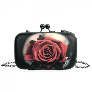 Rose Print Kisslock Crossbody Bag - Black