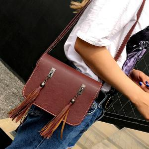 Flap Twin Tassel Crossbody Bag - BROWN