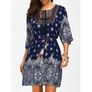 Self Tie Printed Embroidered Dress - Cerulean - One Size