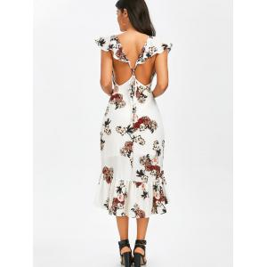 Mermaid Plunge Floral Backless Tea Length Dress - WHITE XL
