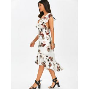 Mermaid Plunge Floral Backless Tea Length Dress - WHITE M