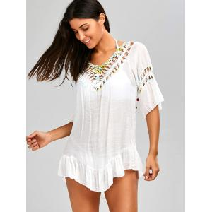 Backless Flounce Crochet Tied Tunic Cover-Up -