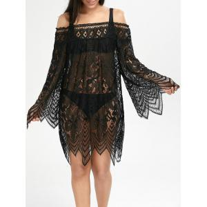 Lace Sheer Long Sleeve Cover Up Dress
