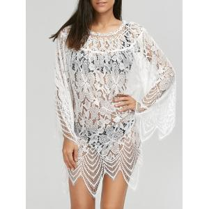 Lace Sheer Long Sleeve Cover Up Dress - White - S