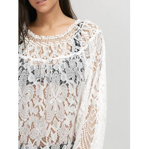 Lace Sheer Long Sleeve Cover Up Dress - WHITE XL