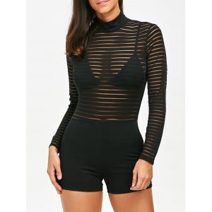 Mesh Panel Cut Out Striped Romper - Black - Xl
