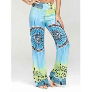 Ethnic Print High Waisted Palazzo Pants - Multi - Xl