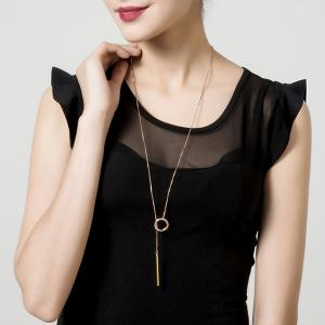 Bar Circle Minimalist Lariat Necklace