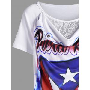 Lace Panel Distressed American Flag Airbrush T-Shirt -