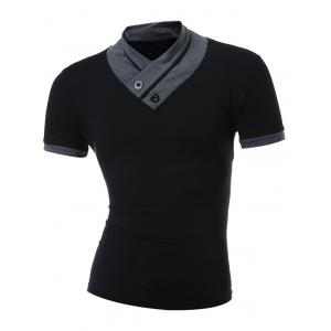 Stand Collar Button Embellished T-Shirt