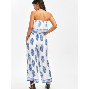 Strapless Crop Top and Slit Wide Leg Pants - BLUE/WHITE M