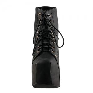 Stylish Casual PU Leather Solid Color Lace-Up Design Women's Platform Boots -