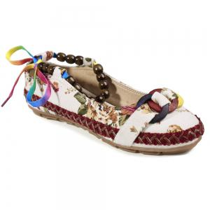 Floral Print Beading Flat Shoes - Off-white - 39