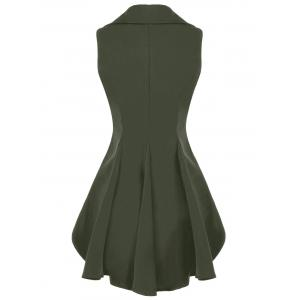 Double Breast High Low Lapel Dressy Waistcoat - ARMY GREEN 2XL