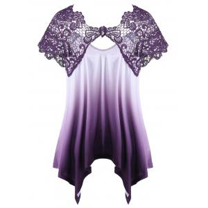 Plus Size Lace Panel Ombre Asymmetric T-Shirt - PURPLE 2XL