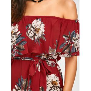 Belted Off The Shoulder Flounce Summer Dress - RED XL