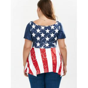 Distressed Patriotic Plus Size American Flag Tunic - COLORMIX 5XL